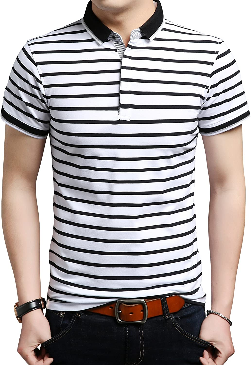Womleys Mens Casual Nashville-Davidson Mall Striped Slim Fit Ranking TOP18 Short Shirts Sleeve Polo Co