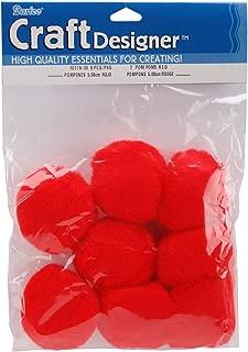 Darice 8-Piece Acrylic Pom Pom, 2-Inch, Red