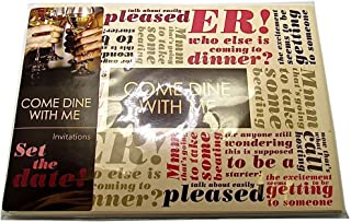 MA ONLINE Pack of 8 Come Dine With Me Invitation Card Set Adults Festivals Party Accessory