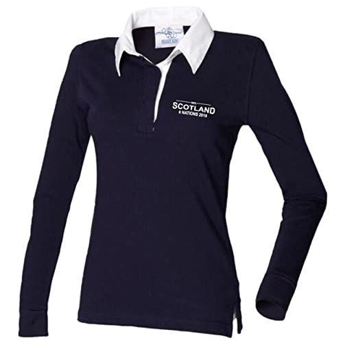 0ba28f42ef0 100% Scotland Rugby Six Nations 2018 Rugby Shirt Ladies Navy