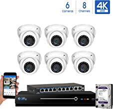 GW Security 8 Channel 4K NVR 8MP IP Camera Network PoE H.265 Surveillance System with 6-Piece Ultra HD 4K 2160P Weatherproof Outdoor/Indoor Dome Security Cameras - White