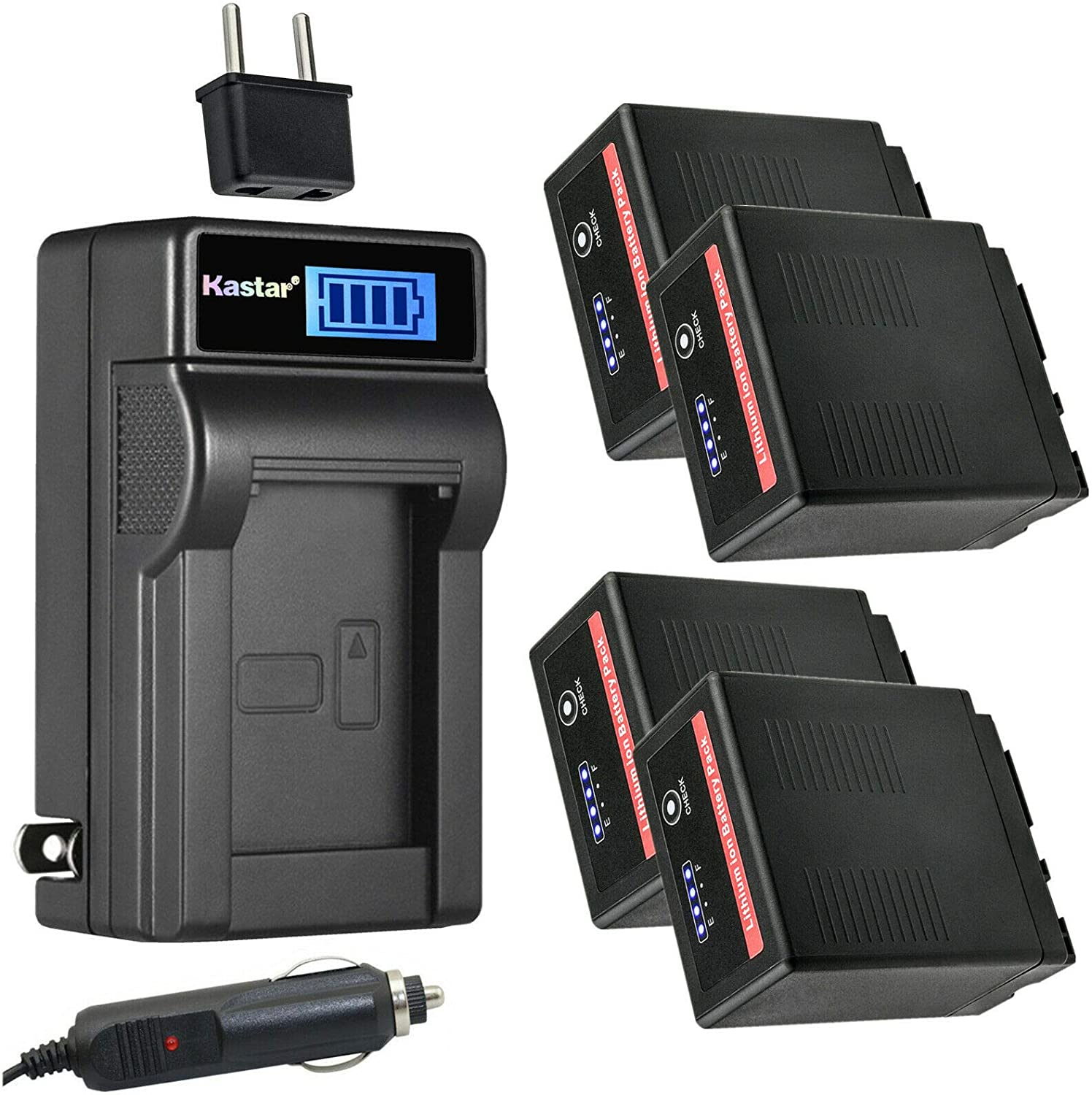 Kastar Directly managed store 4-Pack VW-VBG6 Pro Regular store Battery and Charger Compatible AC LCD