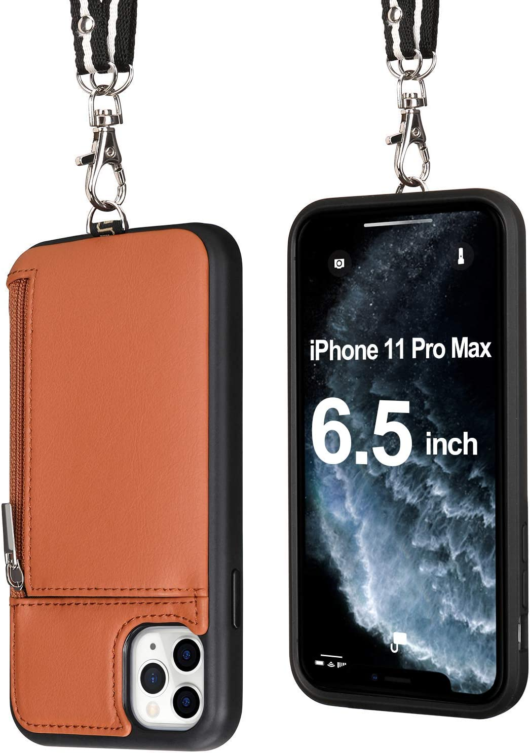 Labato iPhone 11 Pro Max Leather Necklace Lanyard Strap Case with Card Holder, iPhone 11 Pro Max Wallet Case with Strap Zipper Shockproof Travel Strap Card Case for Apple 11 Pro Max 6.5 inch Brown