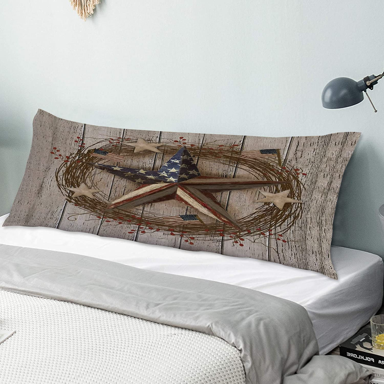 Translated NINEHASA Body Pillow Pillowcase Country Barn Opening large release sale Patr Primitive Star