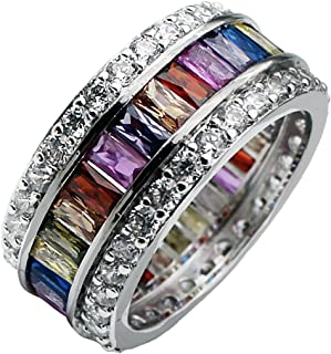 Hermosa Womens Multicolor Band Baguette Gemstone Rings 925 Sterling Silver Ring Sizes 6 to 12 (6)