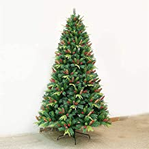 Christmas Tree Pre-Lit PE Artificial, Realistic Christmas Tree with Pine Cones and Berry Ornaments, Metal Bracket Holiday ...