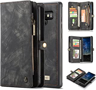 Galaxy Note 9 Wallet Case,AKHVRS Handmade Premium Cowhide Leather Wallet Case,Zipper Wallet Case [Magnetic Closure]Detachable Magnetic Case & Card Slots for Samsung Galaxy Note 9 - Black