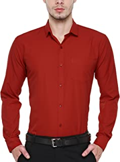BEING FAB Men's Solid Cotton Blend Regular Fit Formal Red Shirt