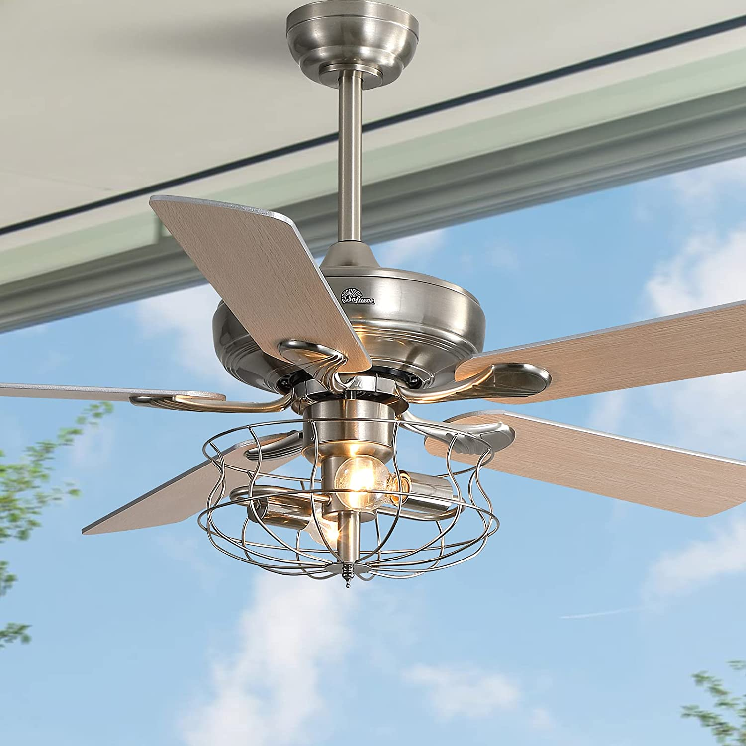 Buy Industrial Cage Ceiling Fan With Lights And Remote Ac Motor Sofucor 52 Inch Brushed Nickel Indoor Ceiling Fan With Iron Lampshade Flush Mount 3 Speed Noiseless Reversible Motor Silver Online In Kazakhstan B08sq7krfv