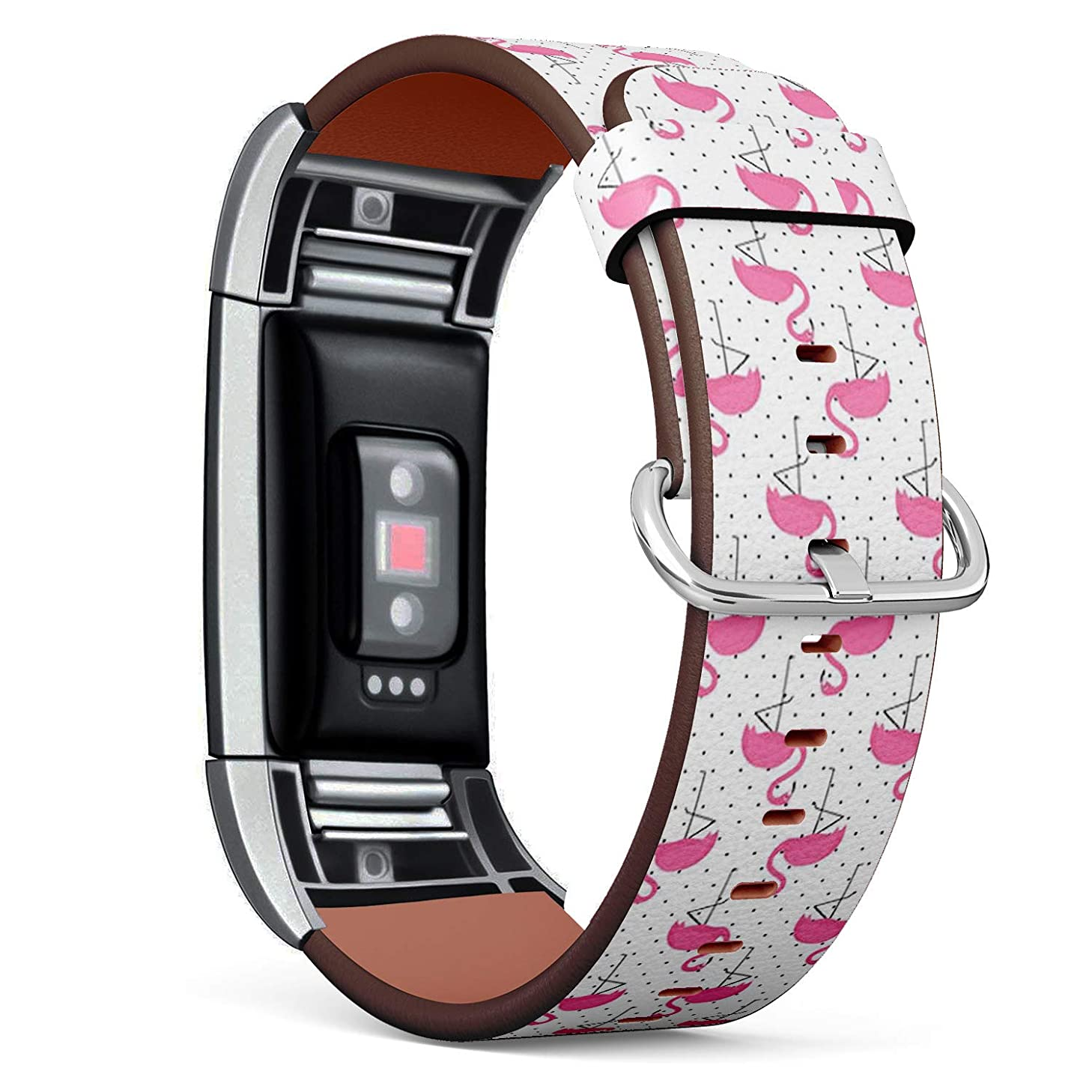 Compatible with Fitbit Charge 2 - Leather Wristband Bracelet Replacement Accessory Band (Includes Adapters) - Flamingo On Polka