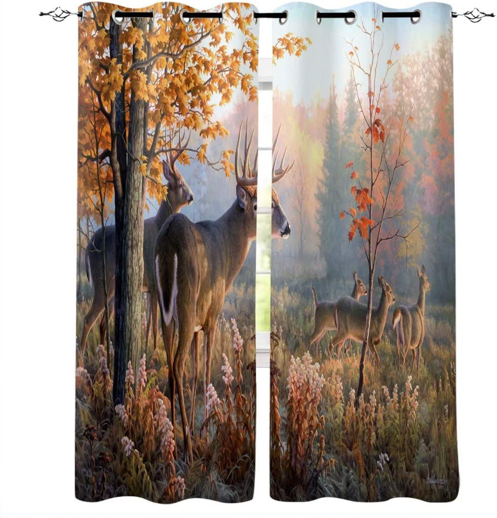 Window お得なキャンペーンを実施中 商舗 Curtains with Grommets Kitchen Elk Illustration i Drapes