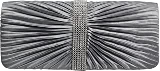 Wiwsi Women Pleated Satin Diamante Clutch Purse Evening Gems Elegant Chain Bags