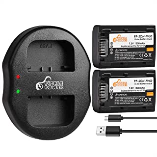 NP-FV50 Pickle Power (x2) Batteries and Dual Slots USB Charger Compatible with Sony Handycam HDR-CX380 430V 900 580V 760V PJ540 650V TD30V FDR-AX100 DCR-SR DCR-SX HDR-CX HDR-XR Series. (1200mAh, 7.2V)