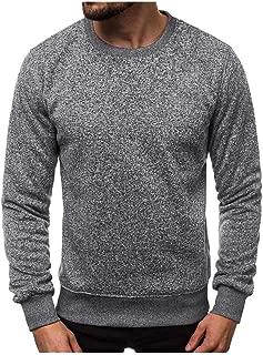 eipogp Crewneck Heather Sweatshirt for Men, Casual Long Sleeve Fleece Ribbed Cuffs Hem Slim Fit Blouse Muscle Active Tops