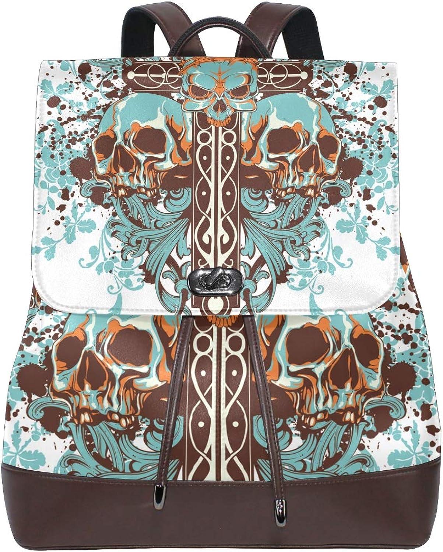 DEZIRO Leather Aqua Skull Head School Pack Backpacks Travel Bag
