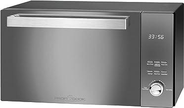 ProfiCook PC-MWG 1204 - Microondas con grill, 23 litros de capacidad, 800 W de potencia de grill, 1000 W, puerta vertical de doble vidrio con mango de acero inoxidable de alta calidad