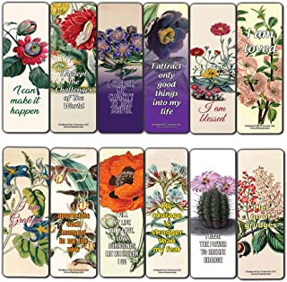 Creanoso Inspirational Positive Affirmation Sayings Flower Bookmarks (60-Pack) – Inspiring Quotes Bookmarker Cards – Premium Stocking Stuffer Gift Ideas for Women, Ladies, Bookworms – Bulk Set