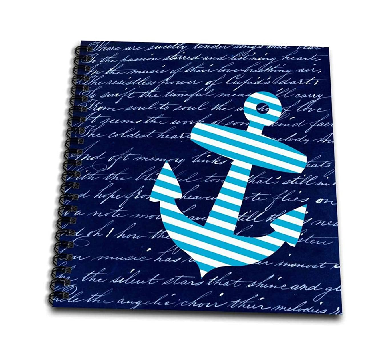 3dRose Blue and White Anchor on Black with Vintage Handwriting-Sailor Stripes Nautical Design-Memory Book, 12-inch (db_112807_2)