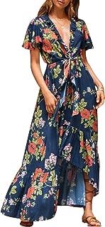 Women's Boho V Neck Floral Chiffon Dress Backless Beach Split Maxi Dress with Belt
