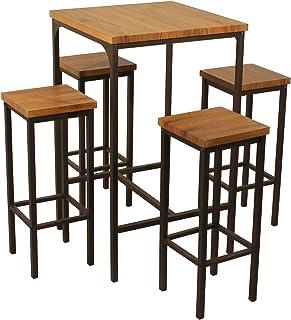 985c46ebc797 ROMA Mesa Bar Cuadrado y 4 taburetes marrón Mesa 66 x 66 x