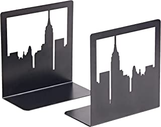 Geomod Decorative New York City NYC Skyline Metal Bookends (Black, 1 Pair) Book Ends for Tables, Desks, Shelves | Bookends...