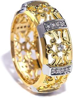 صفير مكعب دائري 14 قيراط مطلي فضة عالي مصقول مثلج من المختبر خاتم زفاف الماس خواتم الخالصة للرجال النساء (ذهبي، 6)