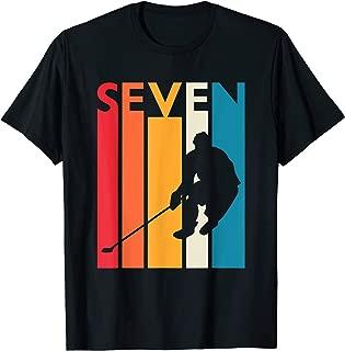 7th Birthday Gift Seven Vintage Hockey Birthday 7 Year Old T-Shirt