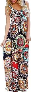 Women's Floral Boho Flowy Summer Sleeveless Tank Maxi Long Party Dresses Beach Sundress