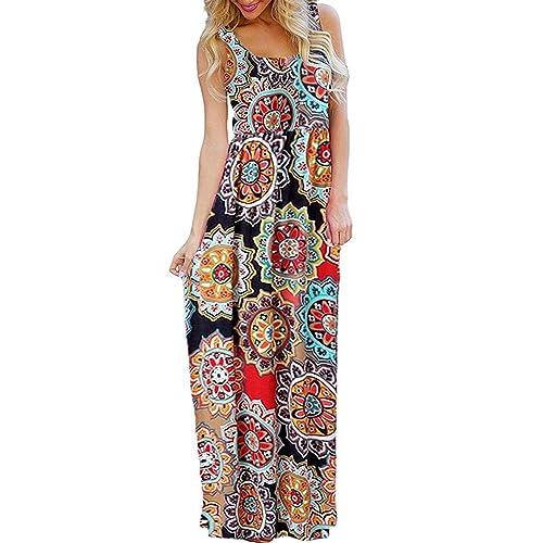 6fb6e8c8925 BLUETIME Women s Summer Sleeveless Bohemian Floral Empire Waist Flowy Beach  Maxi Long Dresses with Pockets