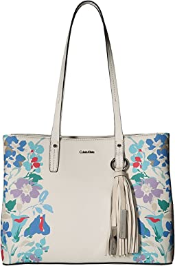 Printed Floral East/West Tote