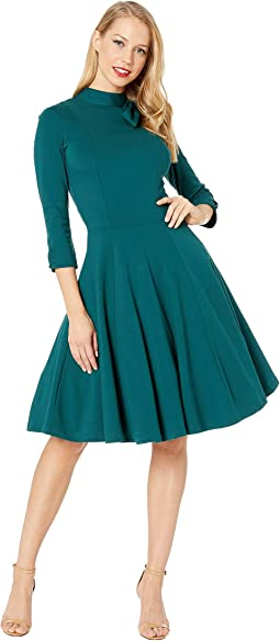 Knit 3/4 Sleeved Parker Flare Dress