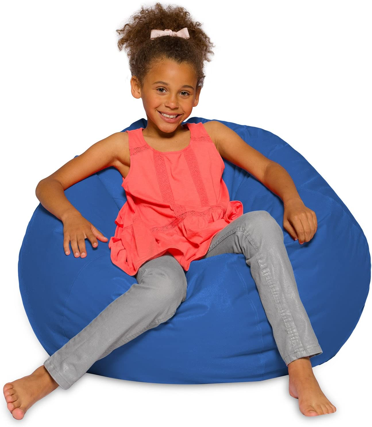 Posh Creations Big Comfy Bean Bag Posh Large Beanbag Chairs with Removable Cover for Kids, Teens and Adults Polyester Cloth Puff Sack Lounger Furniture for All Ages, 27in, Solid Royal Blue