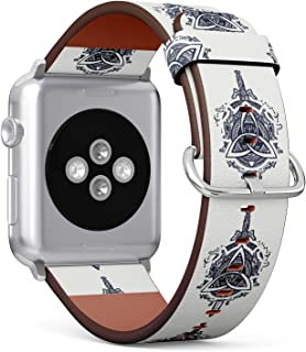 S-Type iWatch Leather Strap Printing Wristbands for Apple Watch 4/3/2/1 Sport Series (38mm) - Celtic Dragons and Sword, Symbol of The Viking