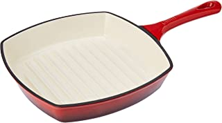 Amazon Brand - Solimo Cast Iron Grill Pan, 26cm, Red