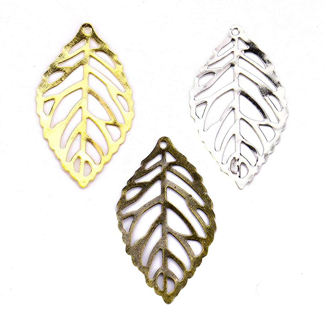 Monrocco 180 Pieces Metal Hollow Leaf Charms Vintage Hollow Filigree Leaf Charms Tree Leaves Jewellery Making 35 x 20 mm