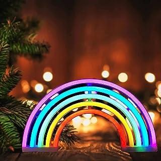Rainbow Neon Signs Night Lights,LED Neon Light Sign Rainbow Light Bedroom Wall Light Lamp,Neon Lights for Bedroom,Indoor W...