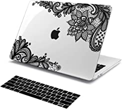 Batianda Case for New MacBook Pro 15 inch 2018 2017 & 2016 Release, Black Lace Design Crystal Clear Plastic Hard Sleeve Cover Model: A1990 A1707 with Touch Bar & Touch ID