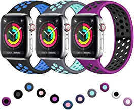 ilopee Band Compatible with Apple Watch 40mm 44mm 38mm 42mm, Vibrant Two-Tone Waterproof Durable Silicone Sport Strap for iWatch Series 5 4 3 2 1 for Women/Men, S/M M/L