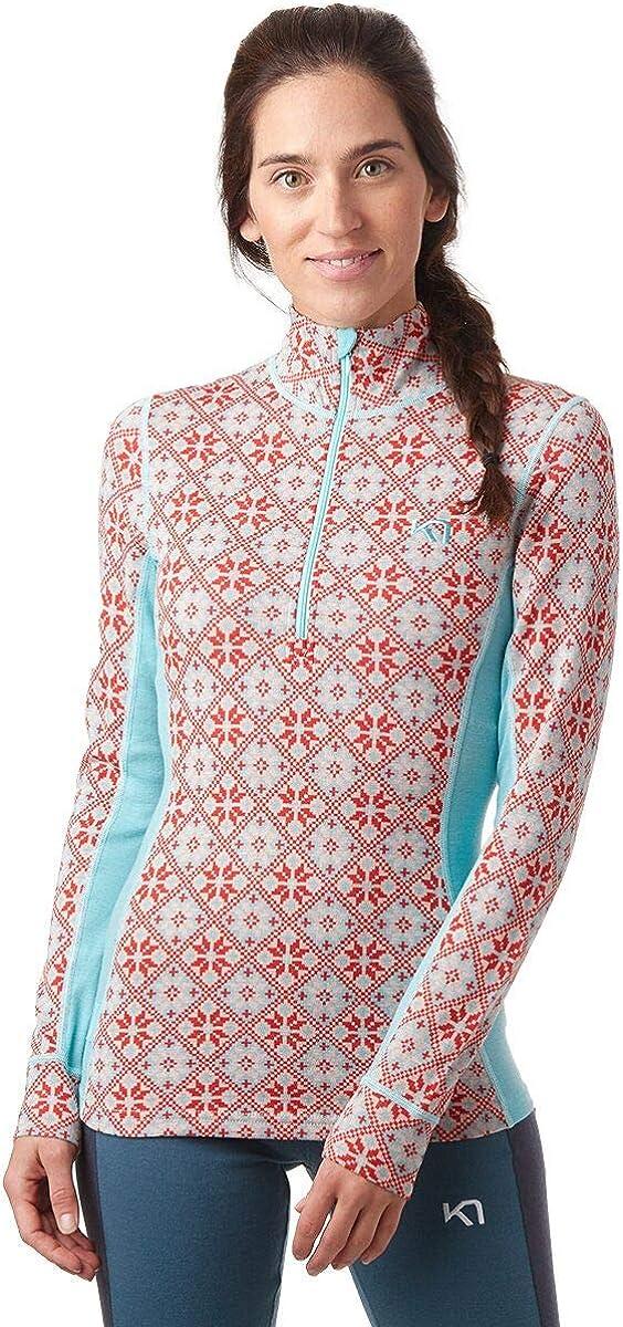 Kari Traa Womens Rose Base Layer Top Half Zip 100/% Merino Wool Thermal Shirt
