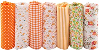 Floral Fabric 25 * 25cm Fabric Squares, Fabrics Fabric, Orange Sewing Shop Quarters for School Home(25 * 25)