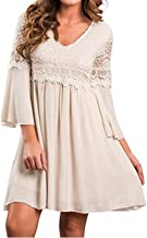 ZANZEA Women's Vintage Floral Lace V Neck 3/4 Bell Sleeve Cocktail A-line Swing Party Casual Mini Dress