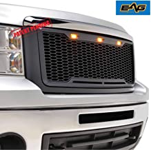 EAG Replacement Grille Upper Front Honeycomb Grill with Amber LED Lights - Matte Black Fit for 07-13 GMC Sierra 1500