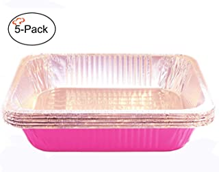 Tiger Chef Full Size Pink Disposable Aluminum Foil Steam Table Baking Pans, 19 5/8in x 11 5/8in x 2 3/16 inches Deep Disposable Chafing Pans 5-Pack