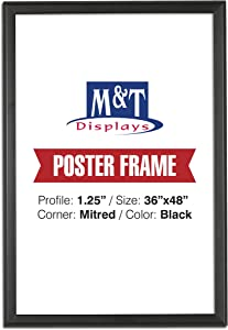 "M&T Displays Snap Frame, 36X48 Poster Size, 1.25"" Black Color, Mitred Corner, Professional, Front Loading"