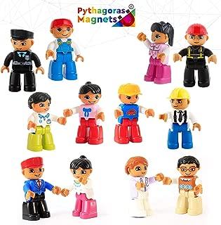 Magnetic Figures Set of 12 – Toy People Magnetic Tiles Expansion Pack for Boys and Girls – Nurse, Builder, Fireman, Police Educational STEM Toys Add on Sets for Magnetic Blocks (3 diffrent Sets)