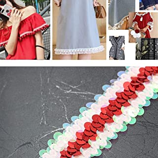 Apparel Accessories LP000330 Three-Row Elastic Connection Sequins Lace Belt DIY Clothing Accessories, Length: 45.72m, Width: 3cm(Red) Apparel Accessories (Color : Red+Color White)