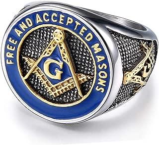 Free and Accepted Masons Ring Stainless Steel Men's Freemason Masonic Biker Ring