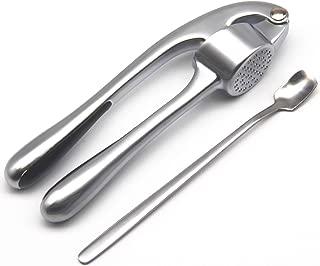 Garlic Press Crusher and Mincer Professional Heavy Soft-Handled Premium Zinc Alloy Crush Garlic JACHI(silver)