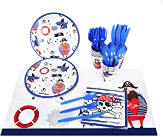 Beauenty 97pcs Pirate Party Supplies Tableware Set,Disposable Dinnerware, Pirate Birthday Party Decor Paper Plates, Cups, ...