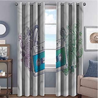 Annery Doodle Wear-Resistant Color Curtain Audio Cassette Tape 2 Panel Sets W72 x L72 Inch